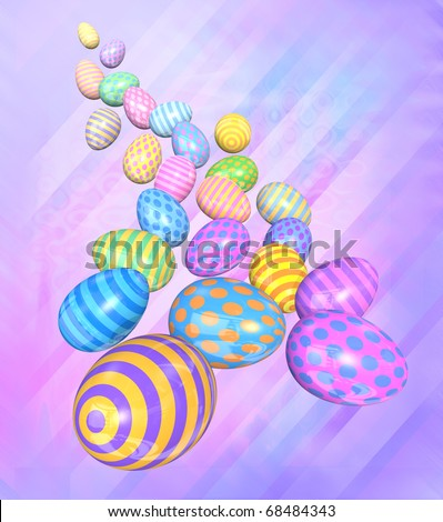 A group of colorful Easter eggs come tumbling down toward the viewer - 3D render - stock photo