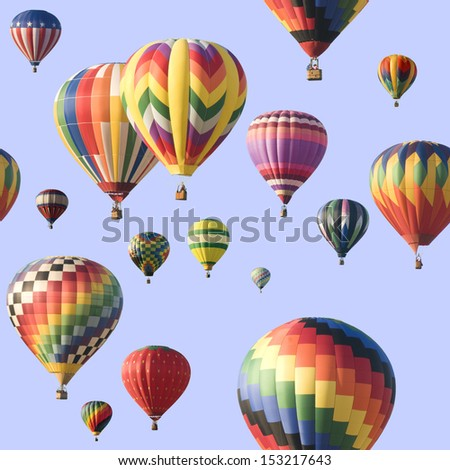 A group of colorful hot-air balloons floating across a blue sky. Image is seamlessly tileable. - stock photo