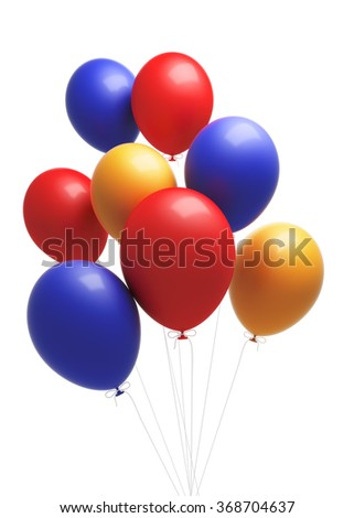 A group of coloruful  balloons. The balloons are attached to strings. Isolated on white background. Clipping path is included. - stock photo