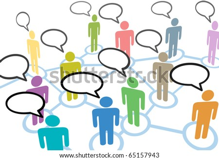 A group of diverse people talk in social media speech communication network connections - stock photo