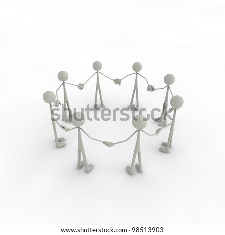 a group of figures built a circle of figures - stock photo