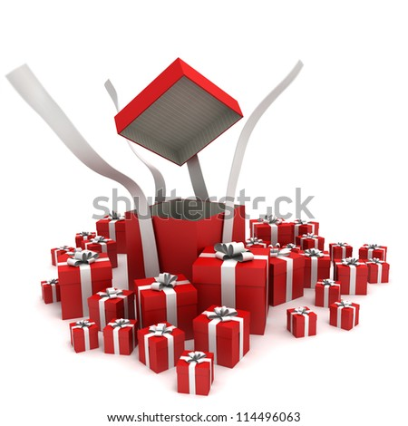 A group of gift boxes with an open one - stock photo