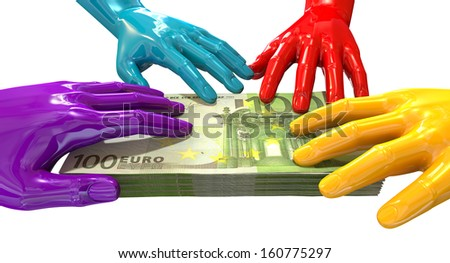 A group of glossy multicolored hands reaching and grappling at a wad of one hundred euro bank notes on an isolated white background - stock photo