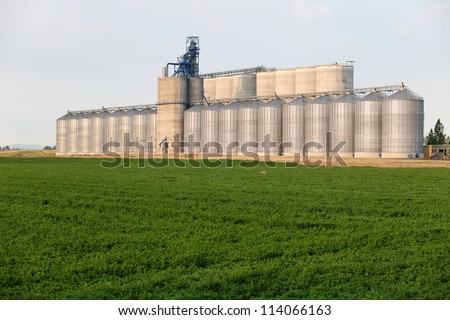 A group of granaries for storing wheat and other cereal grains.  It is located next to a railroad siding for easy loading and unloading. - stock photo