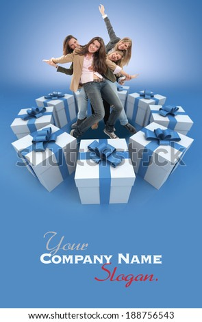A group of happy celebrating women surrounded by gift boxes - stock photo