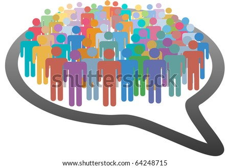 A group of many social media people crowd inside a speech bubble network - stock photo