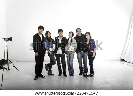 a group of models in photo studio - stock photo