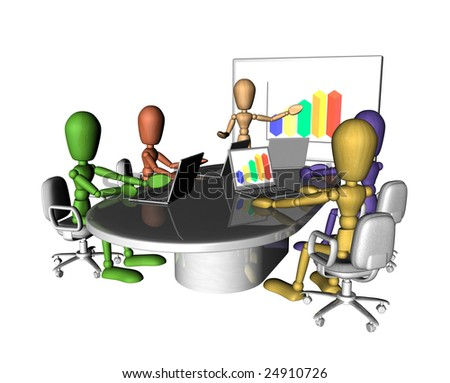 A group of multicolored figures at a business meeting. One is presenting at the front of the room.3D objects created especially for this series of illustrations by the artist. - stock photo