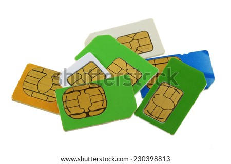 A group of old and used Subscriber Identity Module (SIM) cards - stock photo