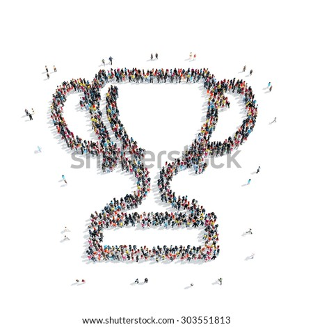 A group of people in the shape of a cup, award, a flash mob. - stock photo