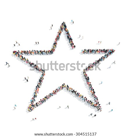 A group of people in the shape of a star, a flash mob. - stock photo