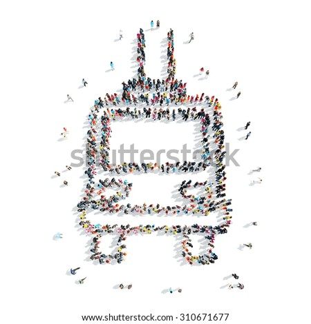 A group of people in the shape of a tram, cartoon isolated on a white background. - stock photo