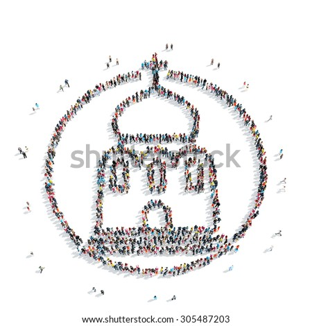 A group of people in the shape of church, religion, flashmob. - stock photo