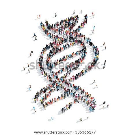 A group of people in the shape of DNA, cartoon isolated on a white background. - stock photo