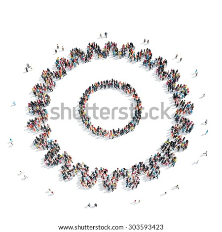 A group of people in the shape of gears, a flash mob. - stock photo