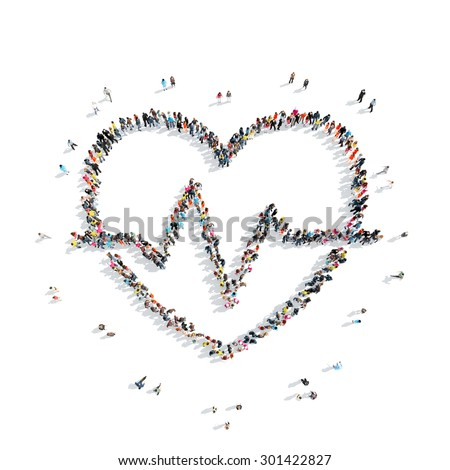 A group of people in the shape of heart, cardio, flash mob. - stock photo