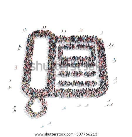 A group of people in the shape of telephone, isolated, white background. - stock photo