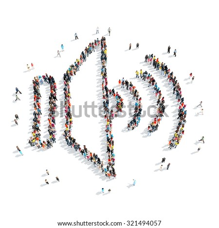 A group of people in the shape of volume, cartoon ,isolated on a white background. - stock photo