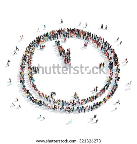 A group of people in the shape of watches, cartoon, isolated, white background. - stock photo