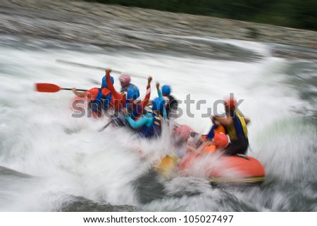 A group of people rafting on the Firtina river. - stock photo