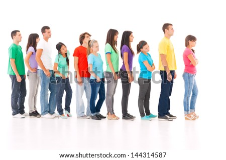 A group of people standing in the queue, isolated on white. - stock photo