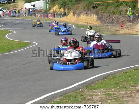 A group of racing go karts. - stock photo