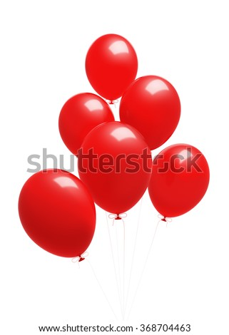 A group of red balloons. The balloons are attached to strings. Isolated on white background. Clipping path is included.. - stock photo