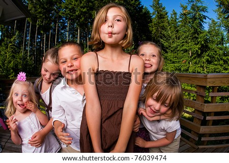 A group of silly kids - stock photo
