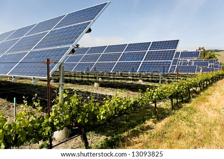 A group of solar panels that are powering the machinery of a California vinyard, reducing the carbon footprint - stock photo