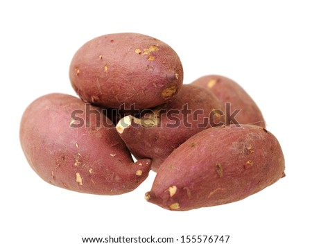 a group of sweet potato isolated on white - stock photo
