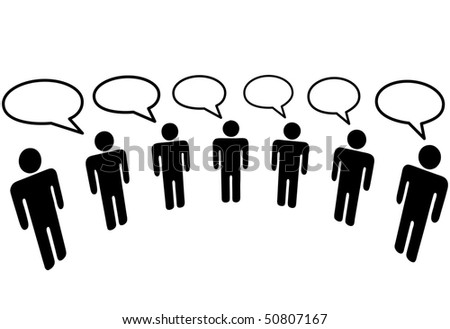 A group of Symbol People in a  Media Social Network connect to communicate and blog. - stock photo