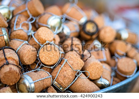 a group of wine cork, closeup shot - stock photo