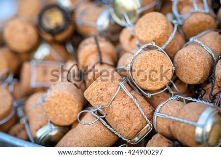 a group of wine cork, closeup shot - stock photo