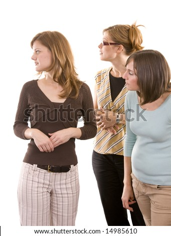 A group of woman curiously watching. - stock photo