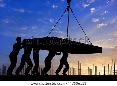 A group of workers at a construction site pushes the plate.,3d render - stock photo