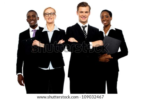 A group of young attractive business people isolated over white background - stock photo