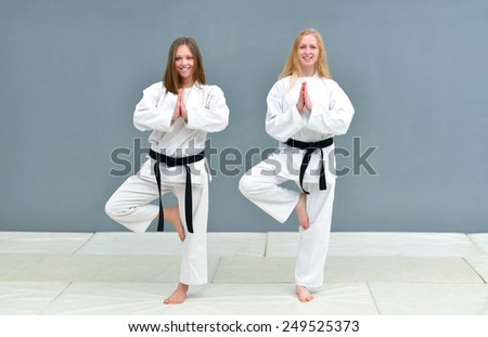 a group of young, beautiful women and men karate karate exercise positions - stock photo
