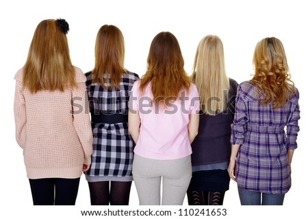 A group of young women - a rear view isolated on white background - stock photo