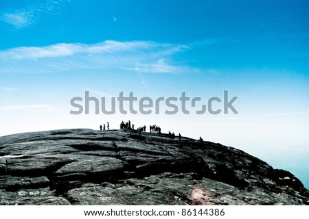A group on top of mountain. During the Ivan Rocha's  memorial - stock photo