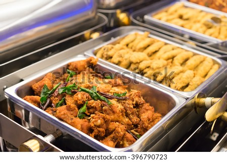 A Groups of Buffet in the Restaurant. Selective focus   - stock photo