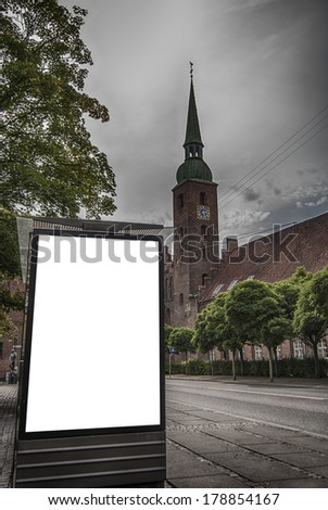A grunge like image of a bus stop with a blank billboard for your advertising - stock photo