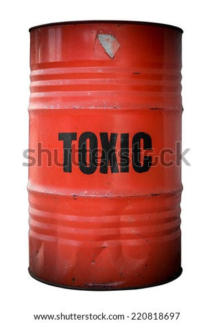 A Grunge Red Barrel Or Drum Filled With Toxic Waste - stock photo