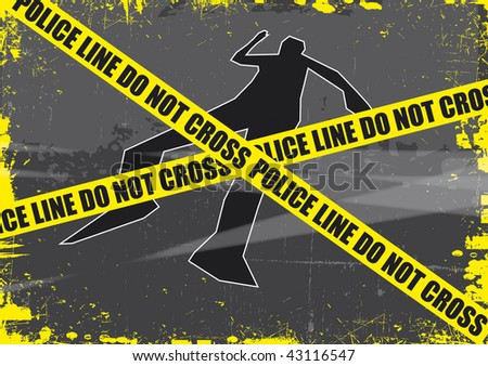 A grunge styled illustration on a crime based theme. A body outline with police tape set on a grunge style background. - stock photo