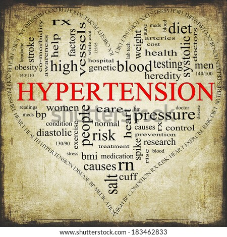 A Grunge textured black and red heart shaped word cloud concept around the word Hypertension including words such as reading, control, doctor, rx and more. - stock photo