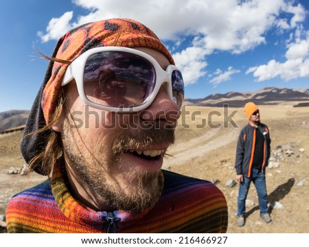 A guy active rest on the nature - stock photo