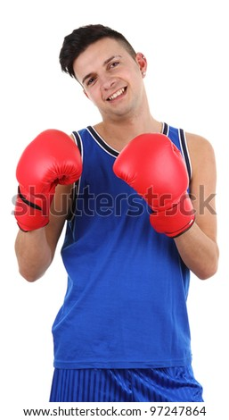 A guy boxing, isolated on white - stock photo