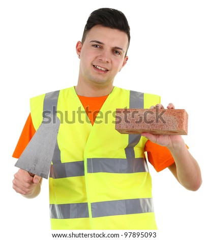 A guy holding a brick, isolated on white - stock photo