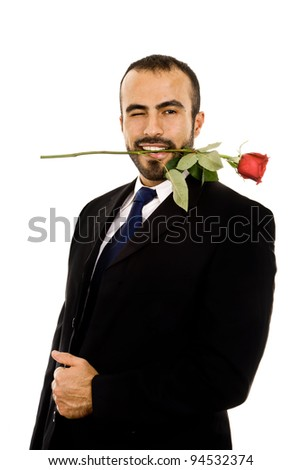 A guy in a cheesy valentine's pose - stock photo