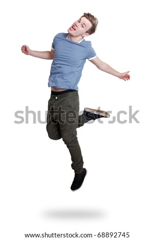 A guy jumping with joy - stock photo
