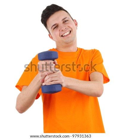 A guy using dumbells, isolated on white - stock photo